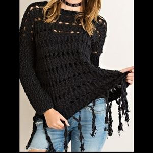 Entro USA Black Open Knit Sweater With Fringe